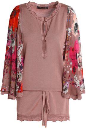 ROBERTO CAVALLI Floral-print crepe-paneled stretch-knit top