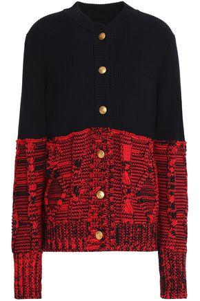 MAISON MARGIELA Cable knit-paneled ribbed cotton cardigan