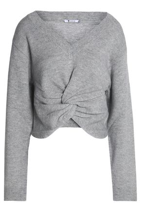 T by ALEXANDER WANG Twist-front wool and cashmere-blend sweater