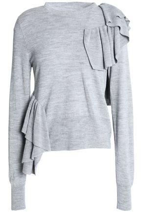 MM6 by MAISON MARGIELA Ruffle-trimmed open-knit top
