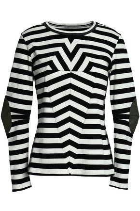 MM6 by MAISON MARGIELA Striped cotton-blend jersey top