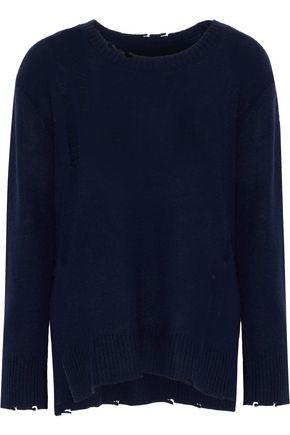 ENZA COSTA Distressed wool and cashmere-blend sweater