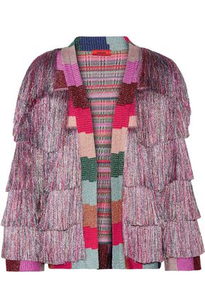 MISSONI Fringed striped metallic crochet-knit jacket