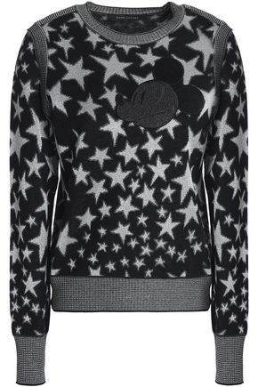 MARC JACOBS Metallic jacquard-knit wool-blend sweater