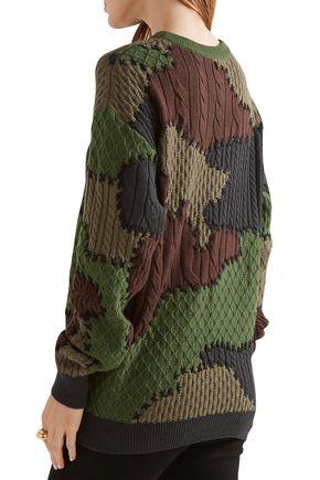MOSCHINO Printed jacquard-knit wool sweater