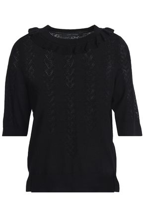 MARC JACOBS Ruffle-trimmed wool and silk-blend sweater