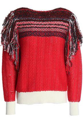 MARC JACOBS Fringe-trimmed cotton-blend jacquard sweater