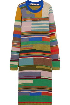 MARNI Color-block intarsia-knit wool-blend top