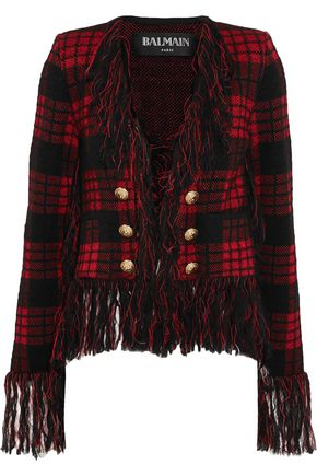 BALMAIN Fringe-trimmed checked wool-blend jacket