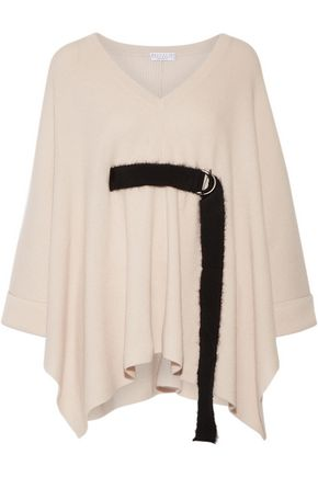 BRUNELLO CUCINELLI Belted ribbed cashmere poncho