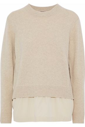JOSEPH Silk-paneled wool and cashmere-blend sweater