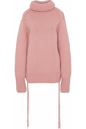 JOSEPH Fringe-trimmed wool turtleneck sweater