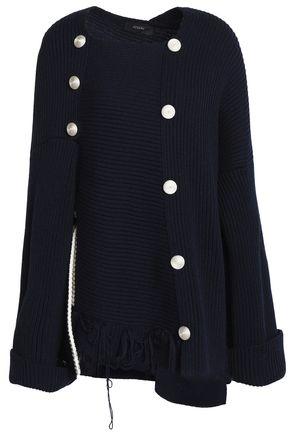 JOSEPH Asymmetric button-embellished ribbed wool sweater