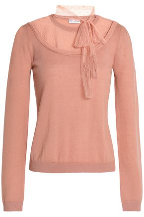 REDValentino Pussy-bow point d'esprit-paneled wool top