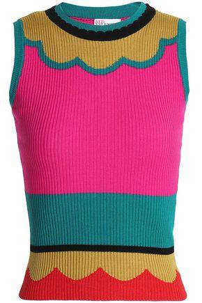 REDValentino Color-block ribbed cotton top