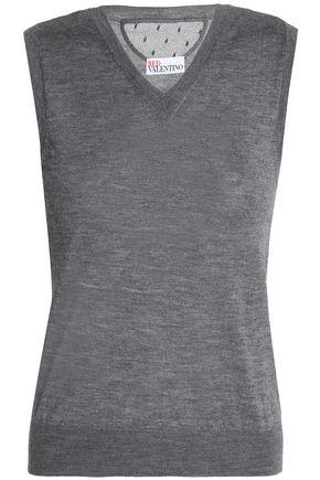 REDValentino Point d'esprit-paneled cashmere and silk-blend vest
