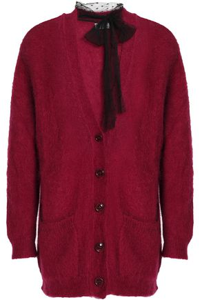 REDValentino Point d'esprit-trimmed mohair-blend cardigan
