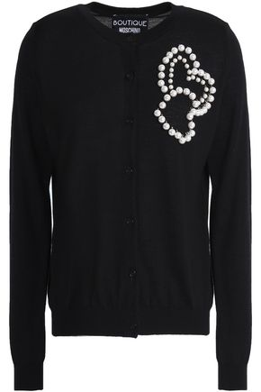 BOUTIQUE MOSCHINO Faux pearl-embellished wool and cotton-blend cardigan
