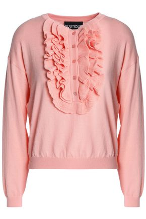 BOUTIQUE MOSCHINO Ruffle-trimmed wool and cotton-blend sweater