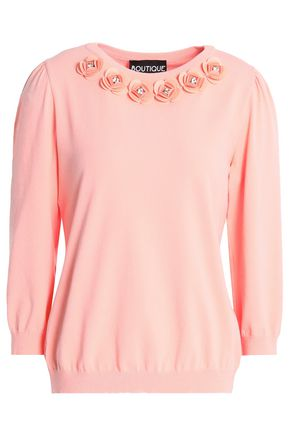 BOUTIQUE MOSCHINO Crystal-embellished floral-appliquéd knitted sweater