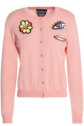 BOUTIQUE MOSCHINO Embellished wool and cotton-blend cardigan