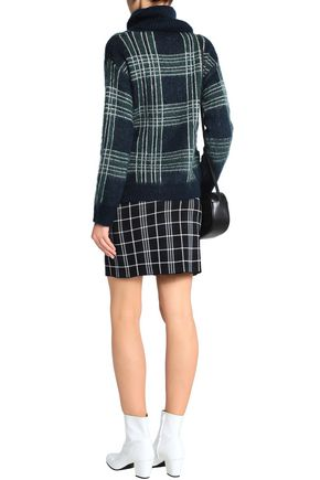CLAUDIE PIERLOT Checked knitted turtleneck sweater