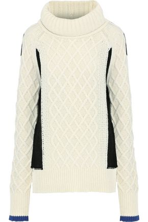 PREEN LINE Ellise paneled cable-knit wool-blend turtleneck sweater