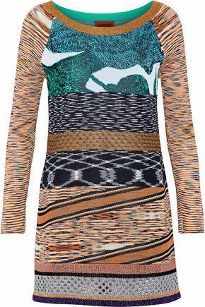 MISSONI Metallic crochet-knit cashmere and silk-blend sweater