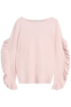 CLAUDIE PIERLOT Ruffle-trimmed wool and cashmere-blend sweater