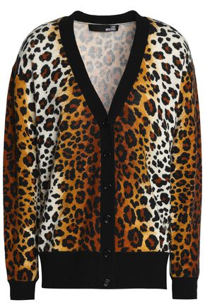 LOVE MOSCHINO Leopard-print wool-blend cardigan