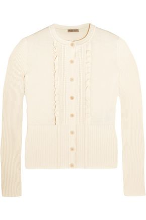 BOTTEGA VENETA Ruffle-trimmed cotton-blend cardigan