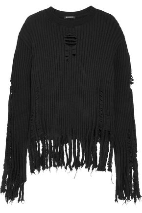 BALMAIN Fringe-trimmed ribbed wool sweater