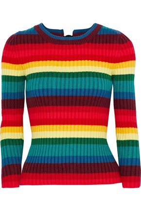 RAOUL Ribbed striped cotton-blend sweater