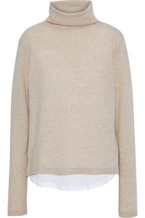 MAJESTIC FILATURES Layered wool and cashmere-blend turtleneck sweater