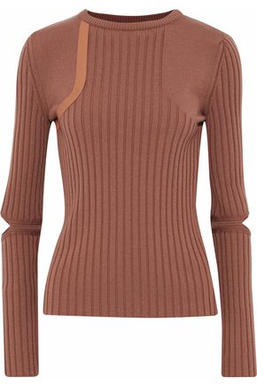 NINA RICCI Cutout leather-trimmed ribbed wool-blend top