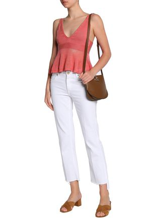 SEE BY CHLOÉ Open knit-paneled cotton peplum top