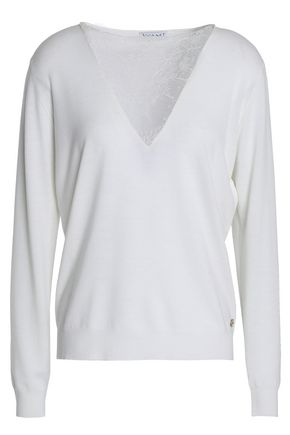 VIONNET Chantilly lace-paneled wool-blend top
