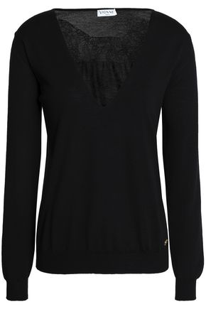VIONNET Chantilly lace-paneled wool-blend top