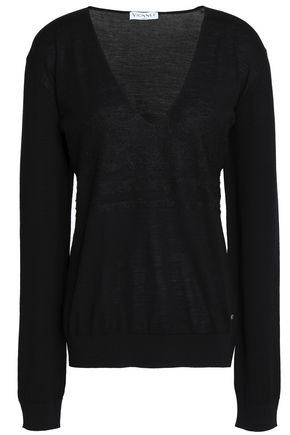 VIONNET Lace-trimmed wool sweater