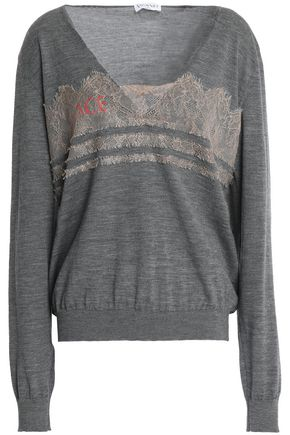 VIONNET Chantilly lace-trimmed printed wool-blend sweater