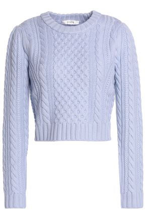 MILLY Cropped cable-knit wool sweater