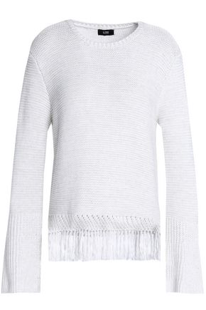 LINE Fringe-trimmed cotton sweater