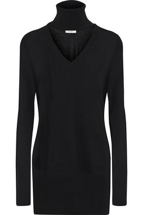 TOME Cutout ribbed wool turtleneck sweater