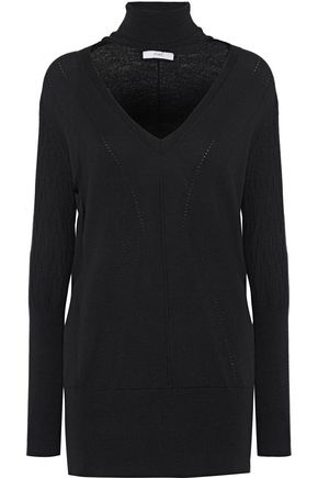 TOME Cutout pointelle-knit wool turtleneck sweater