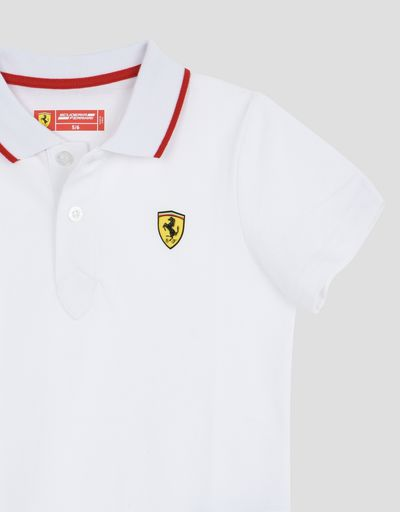 Scuderia Ferrari Online Store - Boys' polo shirt in cotton piquet - Short Sleeve Polos