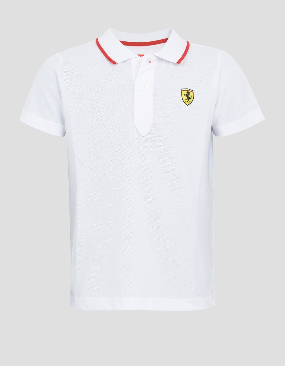 Scuderia Ferrari Online Store - Children's polo shirt in cotton piquet - Short Sleeve Polos