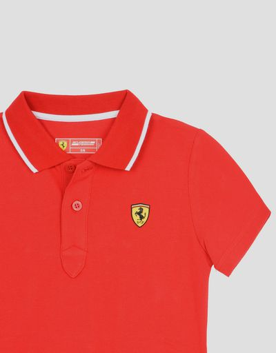 Scuderia Ferrari Online Store - Children's cotton piquet polo shirt - Short Sleeve Polos