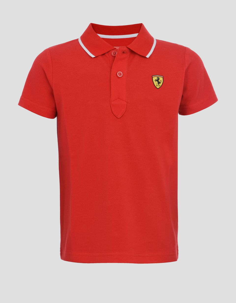 Scuderia Ferrari Online Store - Children's cotton piquet polo shirt -