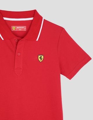Scuderia Ferrari Online Store - Boys' cotton piquet polo shirt - Short Sleeve Polos