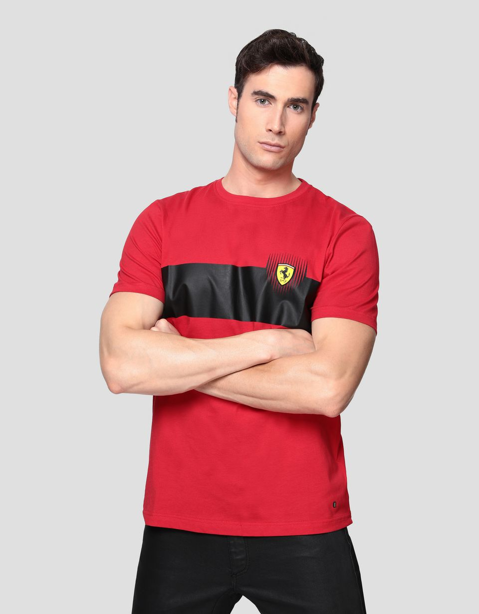 Scuderia Ferrari Online Store - Men's cotton T-shirt with print -